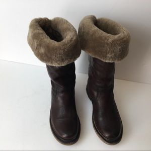 Frye Boots Size 5.5 Brown Leather Fur Lined